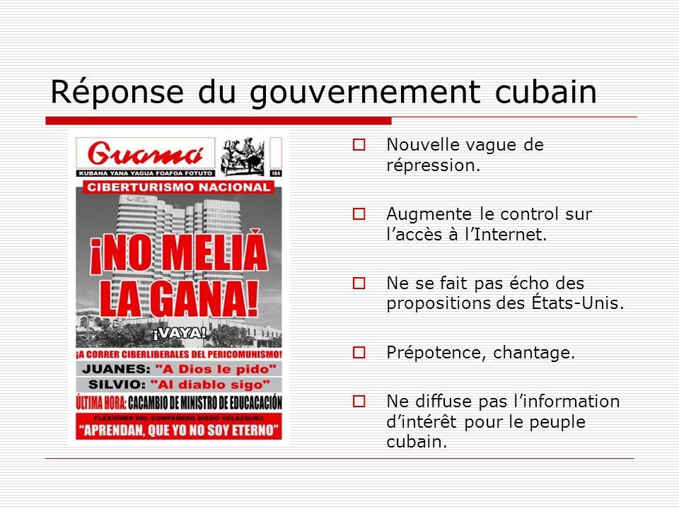 Réponse du gouvernement cubain Nouvelle vague de répression. Augmente le control sur laccès à lInternet. Ne se fait pas écho des propositions des État