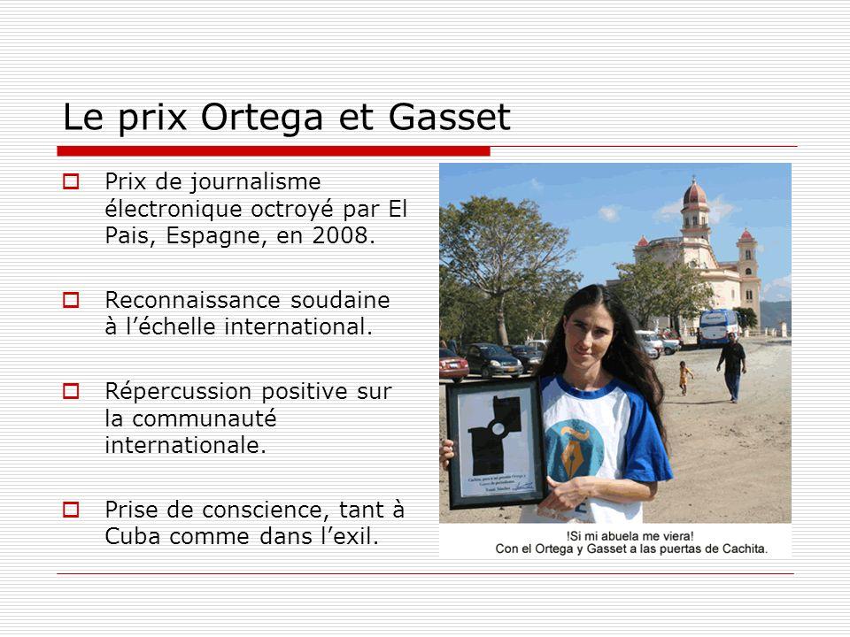 Le prix Ortega et Gasset Prix de journalisme électronique octroyé par El Pais, Espagne, en 2008. Reconnaissance soudaine à léchelle international. Rép