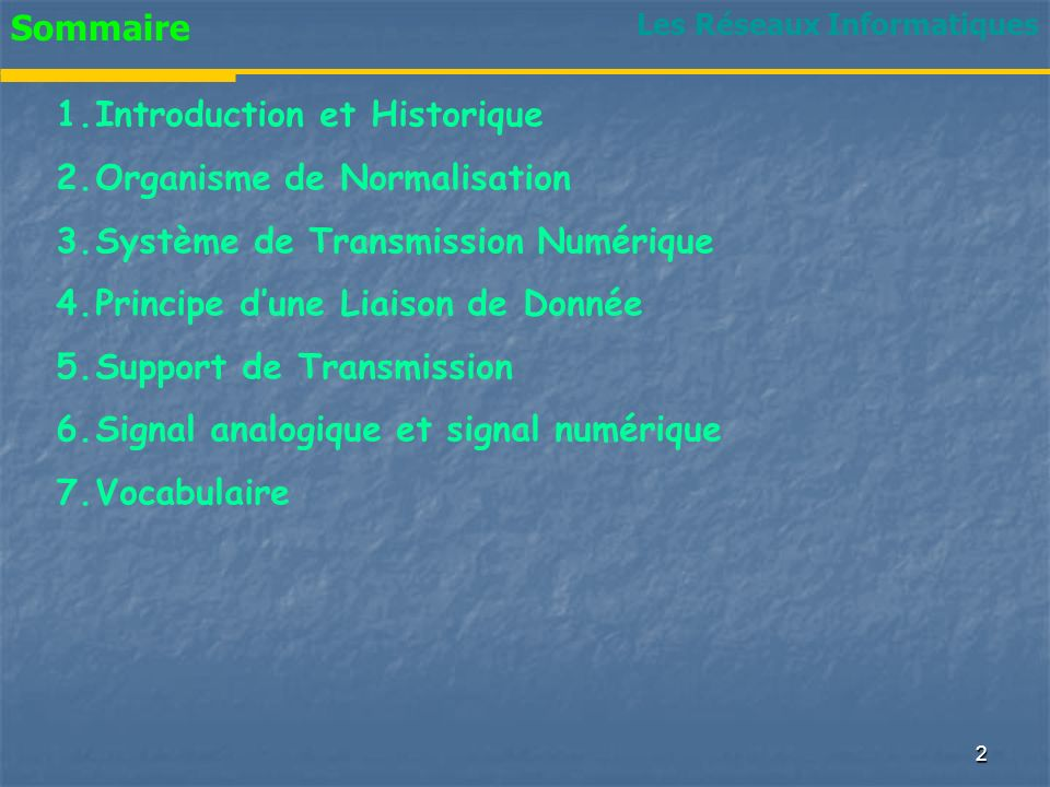 Sommaire 1.Introduction et Historique 2.Organisme de Normalisation 3.Système de Transmission Numérique 4.Principe dune Liaison de Donnée 5.Support de