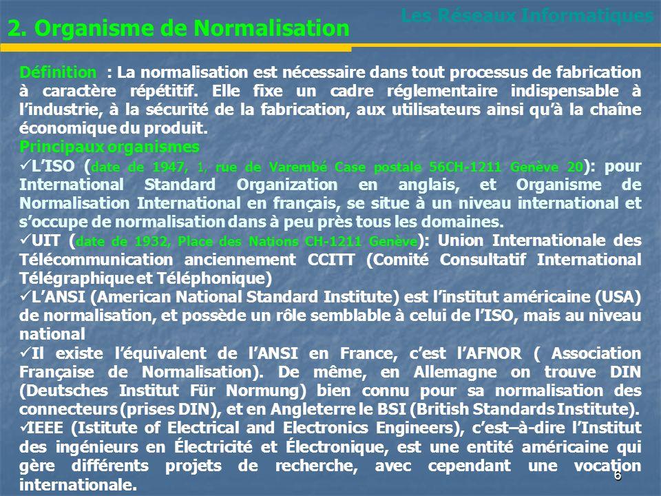 Les Réseaux Informatiques 2. Organisme de Normalisation Définition : La normalisation est nécessaire dans tout processus de fabrication à caractère ré