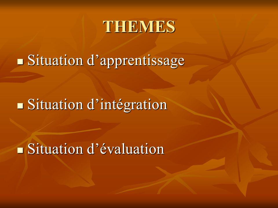 Situation dapprentissage Une situation dapprentissage permet, dans une pédagogie de lintégration, de travailler le transfert et la mobilisation de connaissances dans des situations complexes au-delà des exercices classiques de consolidation et dapplication de savoirs.