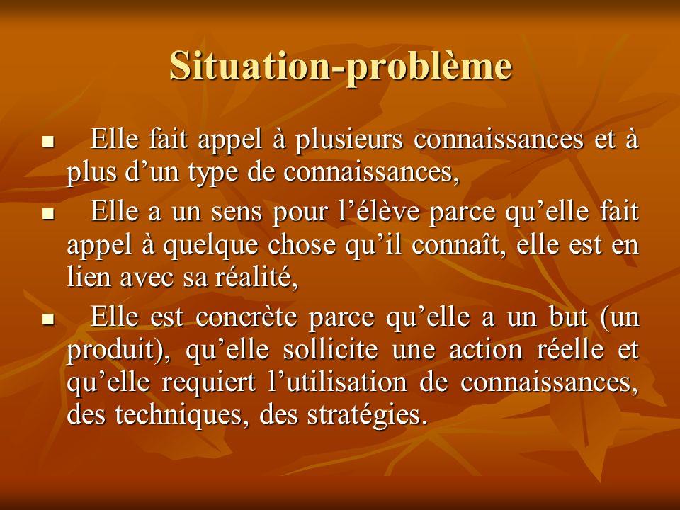 Situation-problème Une situation-problème est organisée autour du franchissement dun obstacle par lélève ou la classe, obstacle préalablement bien identifié.