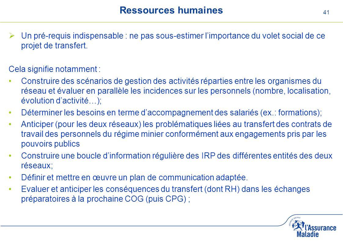 41 Ressources humaines Un pré-requis indispensable : ne pas sous-estimer limportance du volet social de ce projet de transfert. Cela signifie notammen