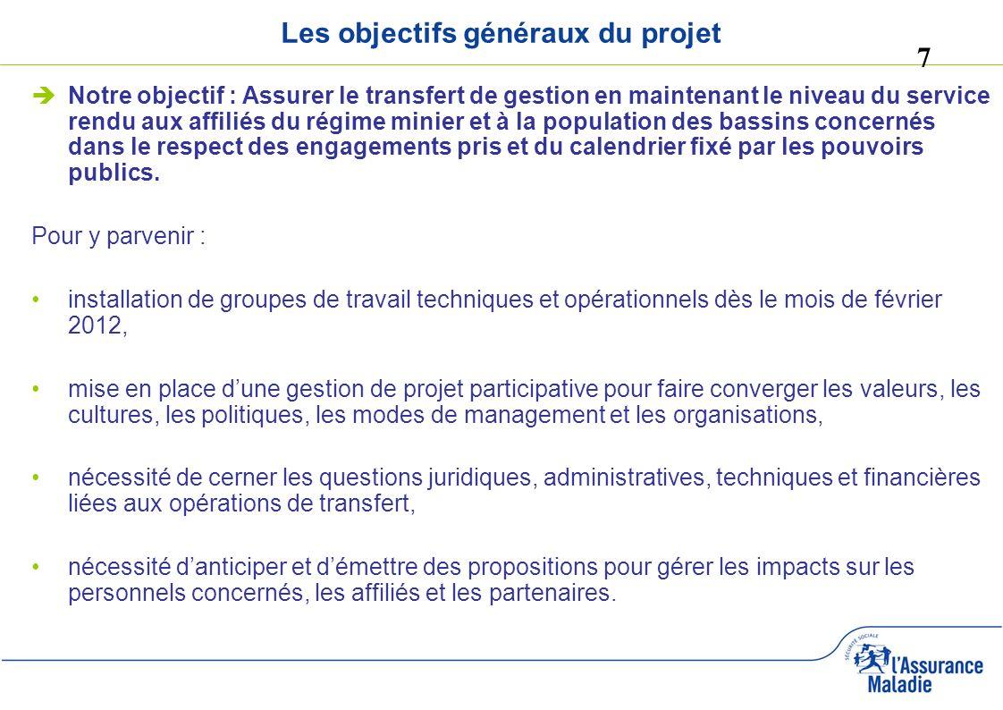 7 Les objectifs généraux du projet Notre objectif : Assurer le transfert de gestion en maintenant le niveau du service rendu aux affiliés du régime mi