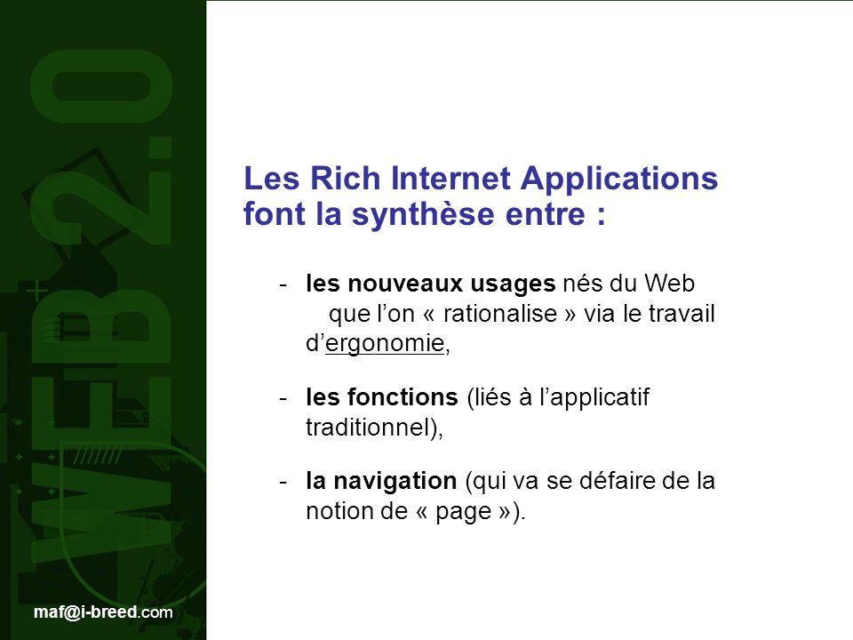 maf@i-breed.com Les Rich Internet Applications font la synthèse entre : -les nouveaux usages nés du Web que lon « rationalise » via le travail dergonomie, -les fonctions (liés à lapplicatif traditionnel), -la navigation (qui va se défaire de la notion de « page »).