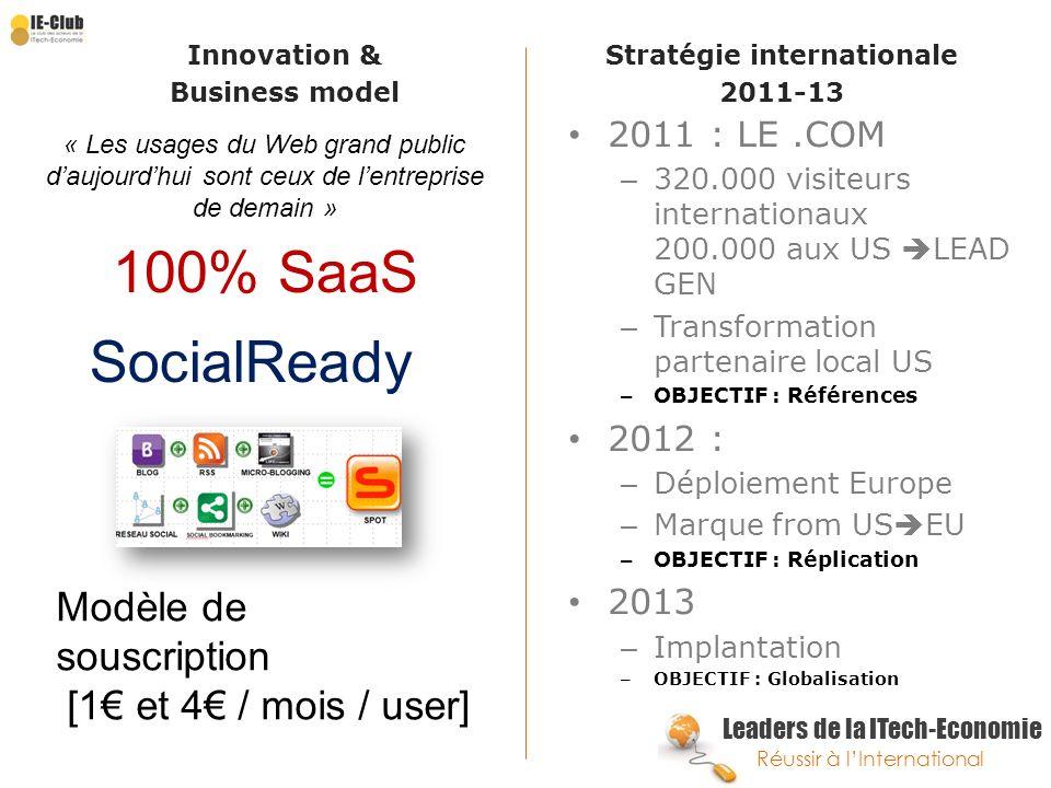 Leaders de la ITech-Economie Réussir à lInternational Innovation & Business model Stratégie internationale 2011-13 2011 : LE.COM – 320.000 visiteurs i