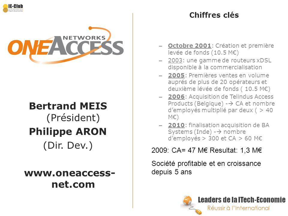 Leaders de la ITech-Economie Réussir à lInternational Bertrand MEIS (Président) Philippe ARON (Dir. Dev.) www.oneaccess- net.com Chiffres clés – Octob