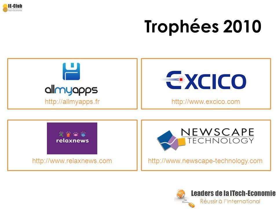 Leaders de la ITech-Economie Réussir à lInternational Trophées 2010 http://allmyapps.frhttp://www.excico.com http://www.relaxnews.comhttp://www.newsca