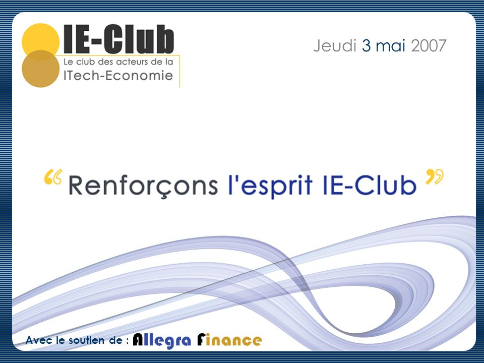 Notre Réseau (2/33) Secteur dactivité : Venture Capital/Private Equity Entreprise et fonction : 3i France, Head of Venture Ce que jattends de lIE-Club : - Meet and chat with interesting people - Share point of views about the IT venture backed ecosystem Ce que japporte à lIE-Club : - Ability to fund and support exciting businesses - Respect for ambitious entrepreneurs - An international standpoint Jean David CHAMBOREDON jdc2@3i.com