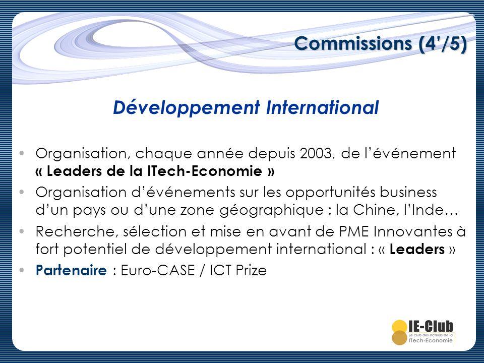 Commissions (4/5) Organisation, chaque année depuis 2003, de lévénement « Leaders de la ITech-Economie » Organisation dévénements sur les opportunités