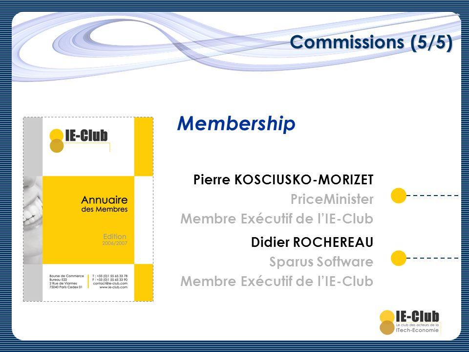 Commissions (5/5) Membership Pierre KOSCIUSKO-MORIZET PriceMinister Membre Exécutif de lIE-Club Didier ROCHEREAU Sparus Software Membre Exécutif de lI