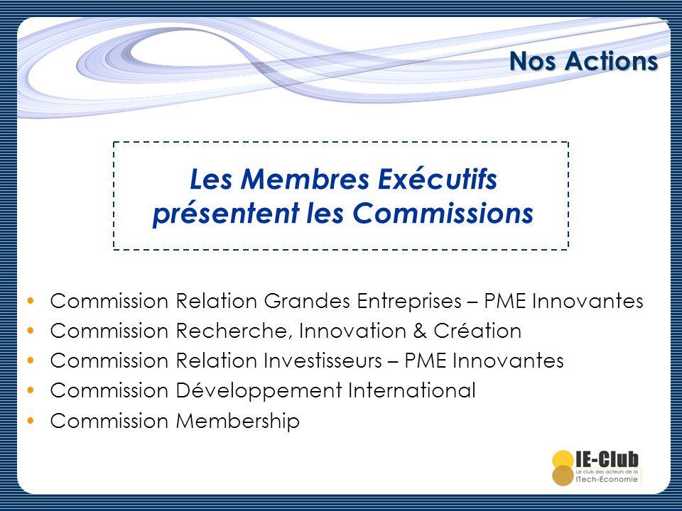 Nos Actions Commission Relation Grandes Entreprises – PME Innovantes Commission Recherche, Innovation & Création Commission Relation Investisseurs – P
