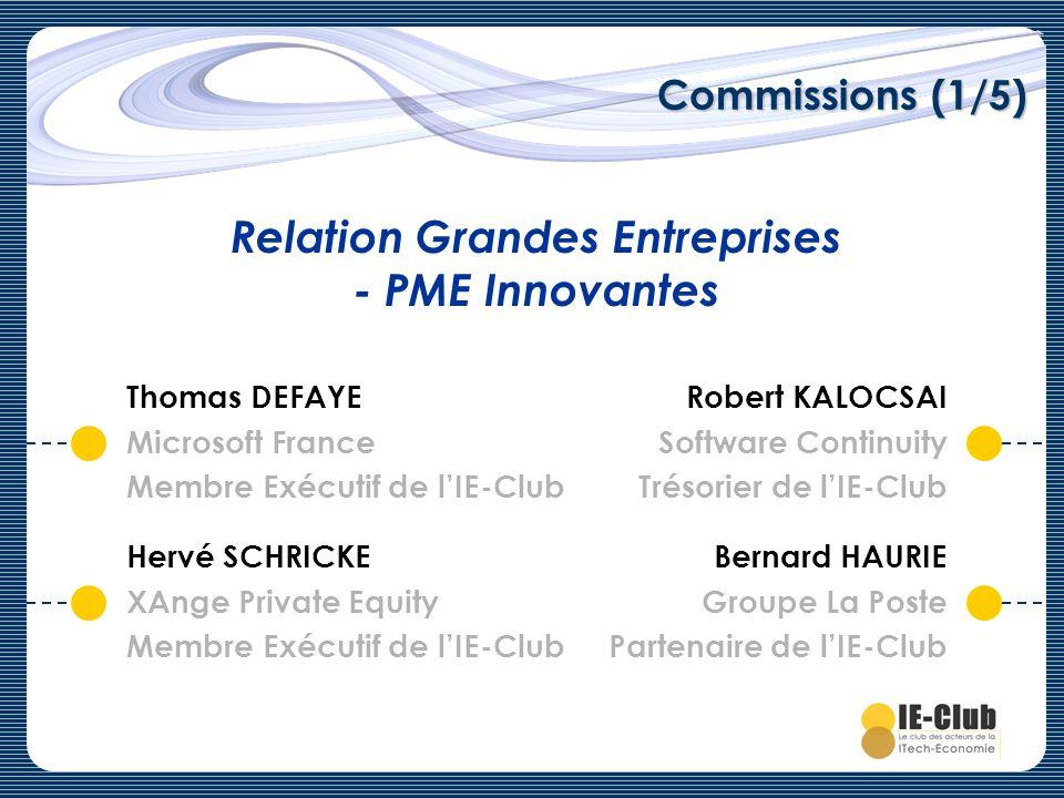Commissions (1/5) Relation Grandes Entreprises - PME Innovantes Robert KALOCSAI Software Continuity Trésorier de lIE-Club Bernard HAURIE Groupe La Pos