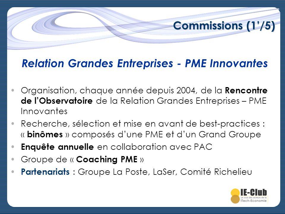 Commissions (1/5) Organisation, chaque année depuis 2004, de la Rencontre de lObservatoire de la Relation Grandes Entreprises – PME Innovantes Recherc
