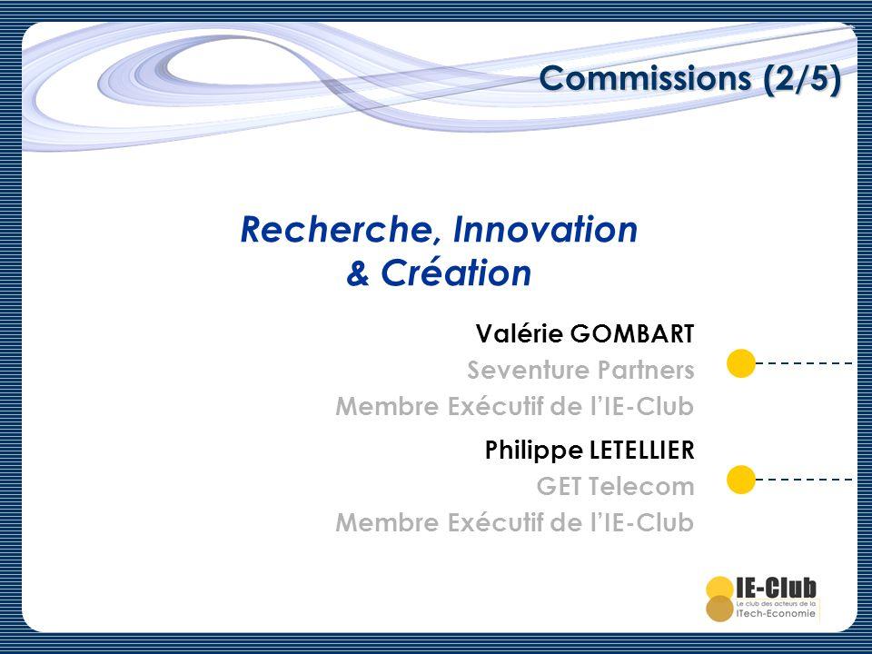 Commissions (2/5) Recherche, Innovation & Création Valérie GOMBART Seventure Partners Membre Exécutif de lIE-Club Philippe LETELLIER GET Telecom Membr