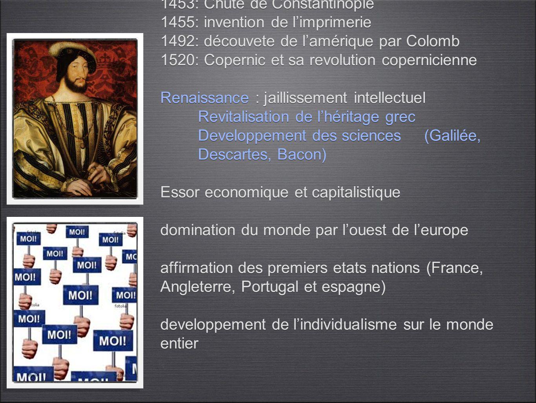 la crise de la modernité 1453: Chute de Constantinople 1455: invention de limprimerie 1492: découvete de lamérique par Colomb 1520: Copernic et sa rev