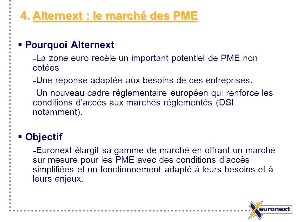 4. Alternext : le marché des PME Pourquoi Alternext La zone euro recèle un important potentiel de PME non cotées Une réponse adaptée aux besoins de ce