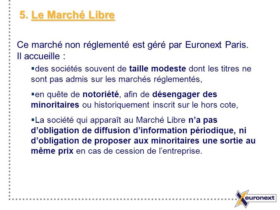 5. Le Marché Libre Ce marché non réglementé est géré par Euronext Paris. Il accueille : des sociétés souvent de taille modeste dont les titres ne sont