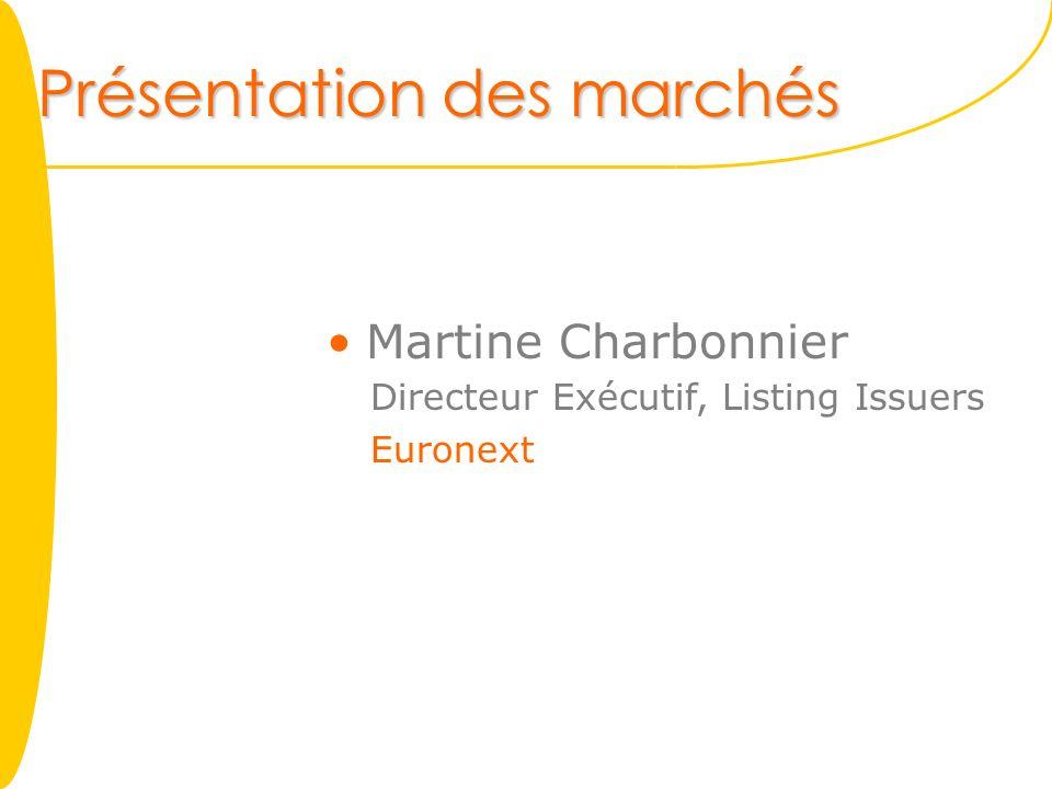 Présentation des marchés Martine Charbonnier Directeur Exécutif, Listing Issuers Euronext