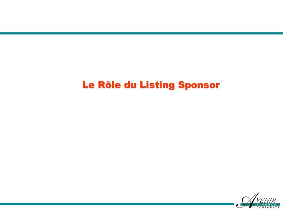 Le Rôle du Listing Sponsor