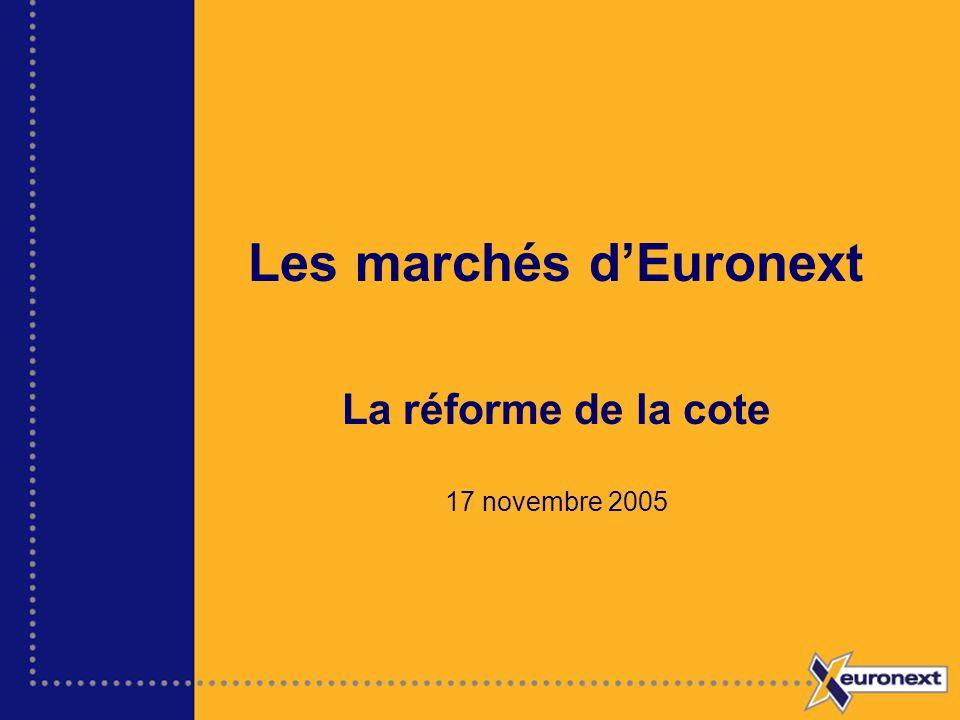 Les marchés dEuronext La réforme de la cote 17 novembre 2005