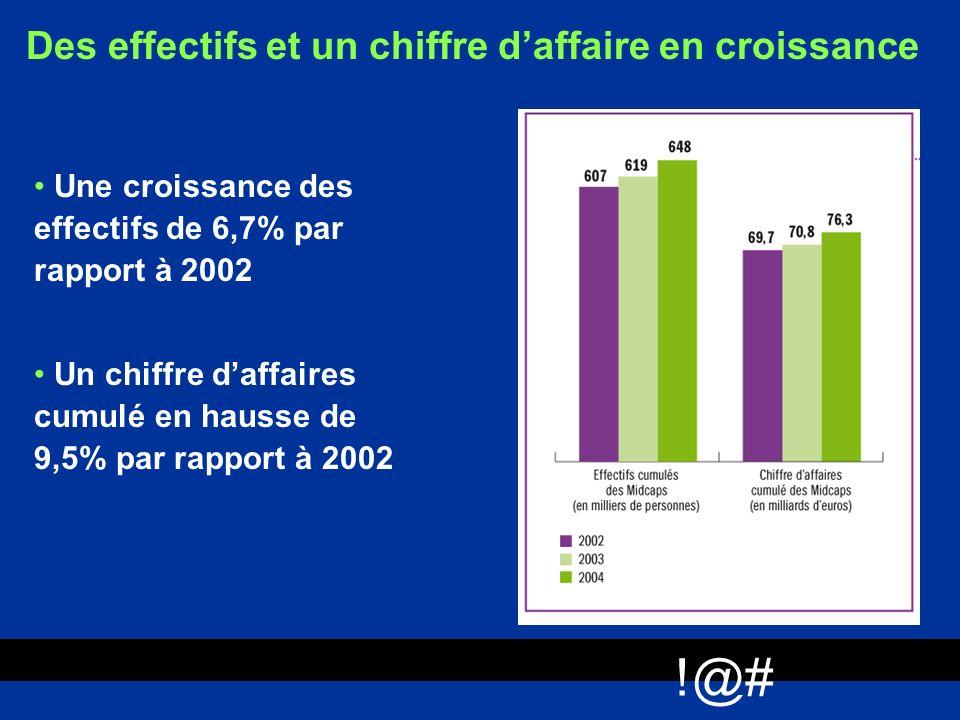 !@# Des effectifs et un chiffre daffaire en croissance Une croissance des effectifs de 6,7% par rapport à 2002 Un chiffre daffaires cumulé en hausse d