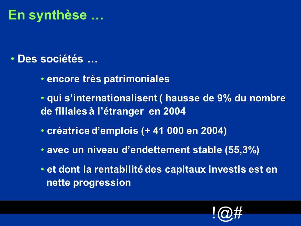 !@# En synthèse … Des sociétés … encore très patrimoniales qui sinternationalisent ( hausse de 9% du nombre de filiales à létranger en 2004 créatrice