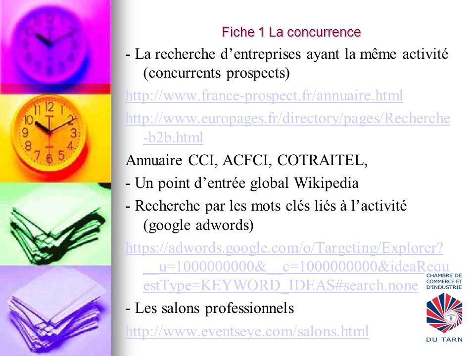 Fiche 1 La concurrence - La recherche dentreprises ayant la même activité (concurrents prospects) http://www.france-prospect.fr/annuaire.html http://w