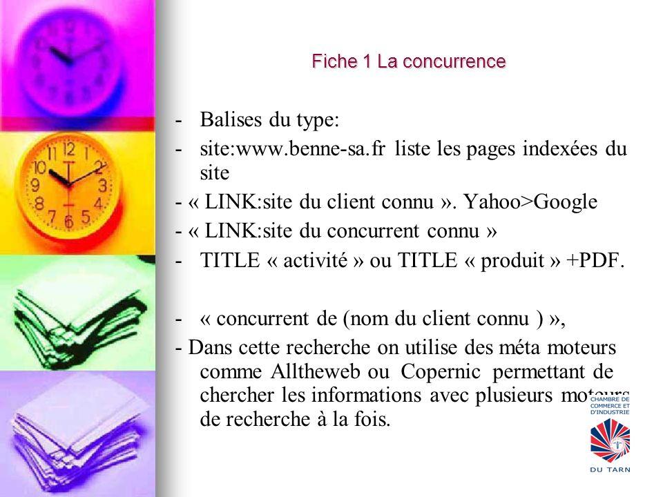 Fiche 1 La concurrence - -Balises du type: - -site:www.benne-sa.fr liste les pages indexées du site - « LINK:site du client connu ». Yahoo>Google - «