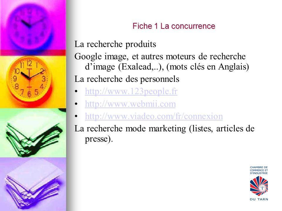 Fiche 1 La concurrence La recherche produits Google image, et autres moteurs de recherche dimage (Exalead,..), (mots clés en Anglais) La recherche des