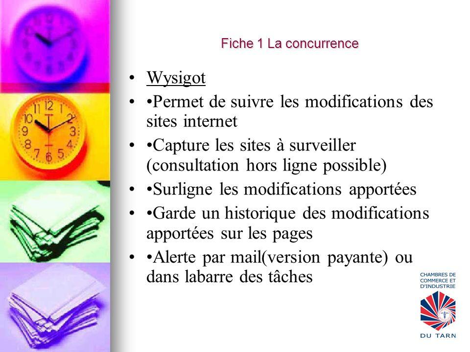 Wysigot Permet de suivre les modifications des sites internet Capture les sites à surveiller (consultation hors ligne possible) Surligne les modificat