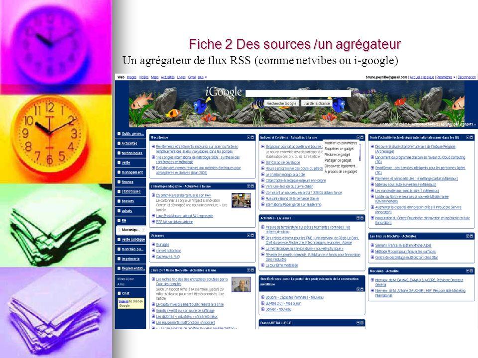 Fiche 2 Des sources /un agrégateur Un agrégateur de flux RSS (comme netvibes ou i-google)