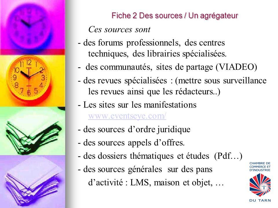 Fiche 2 Des sources / Un agrégateur Ces sources sont - des forums professionnels, des centres techniques, des librairies spécialisées. - des communaut