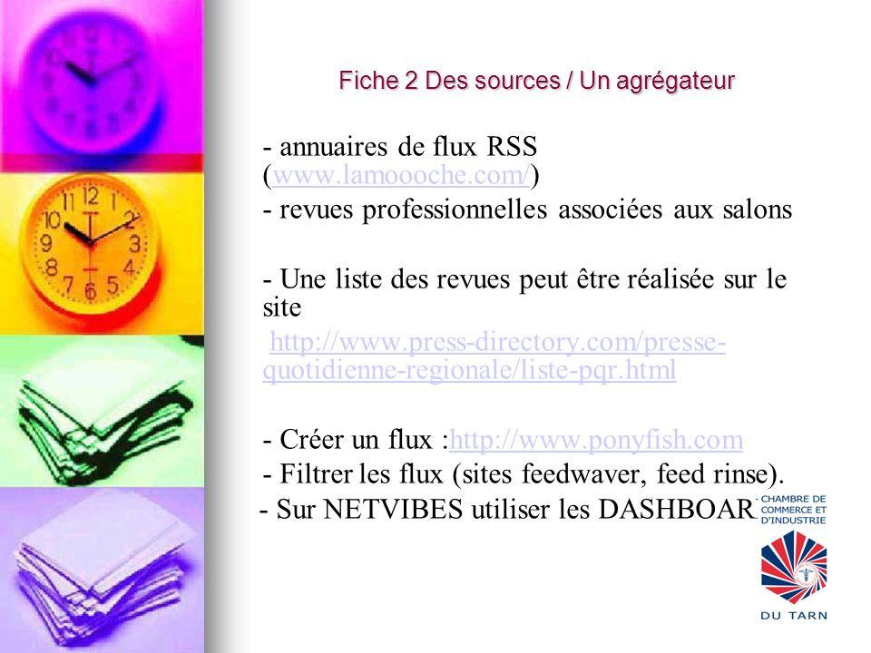 Fiche 2 Des sources / Un agrégateur - annuaires de flux RSS (www.lamoooche.com/)www.lamoooche.com/ - revues professionnelles associées aux salons - Un