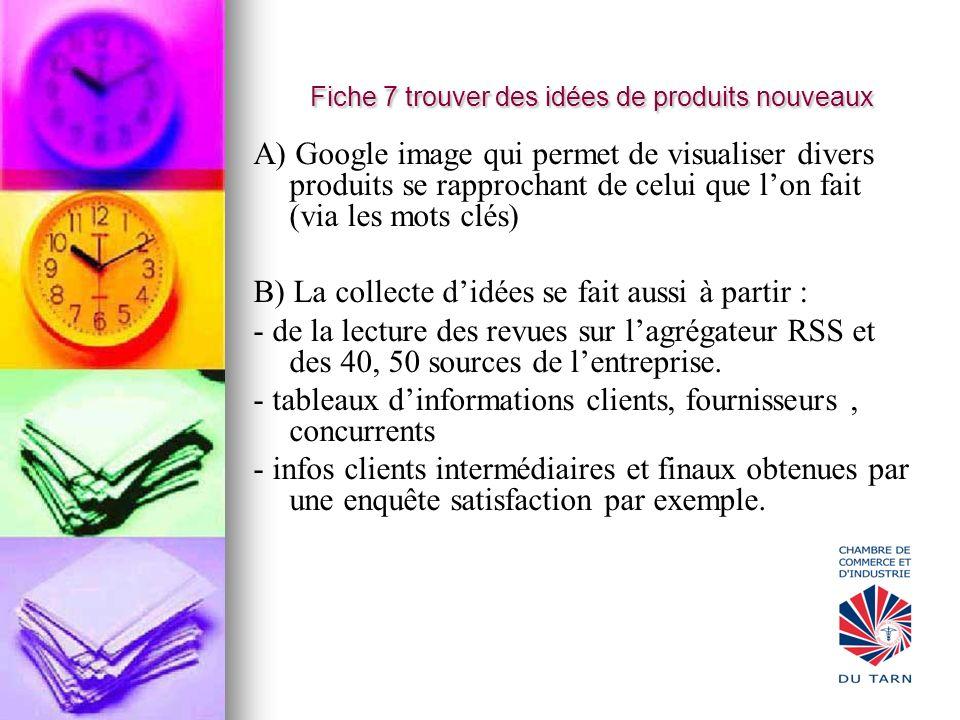 Fiche 7 trouver des idées de produits nouveaux A) Google image qui permet de visualiser divers produits se rapprochant de celui que lon fait (via les