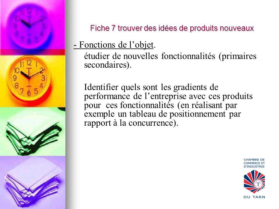 Fiche 7 trouver des idées de produits nouveaux - Fonctions de lobjet. étudier de nouvelles fonctionnalités (primaires secondaires). Identifier quels s