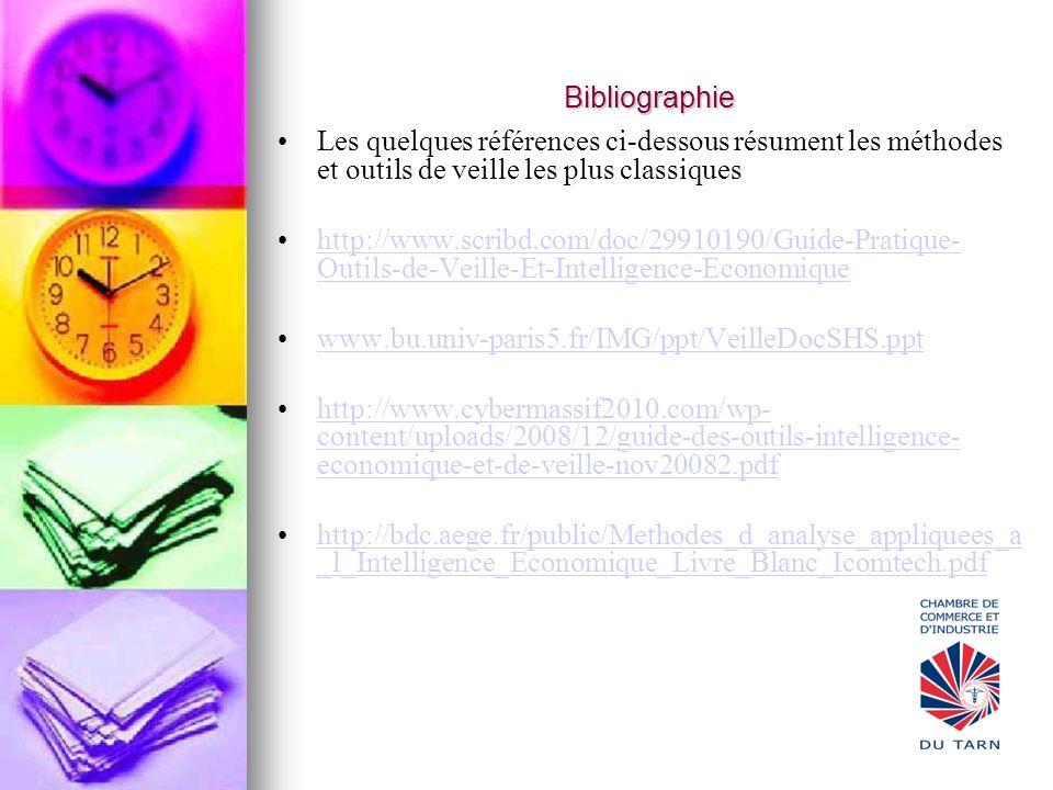 Bibliographie Les quelques références ci-dessous résument les méthodes et outils de veille les plus classiques http://www.scribd.com/doc/29910190/Guid