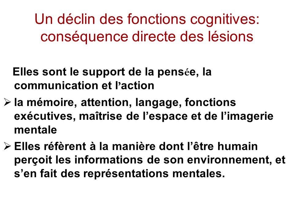 Un déclin des fonctions cognitives: conséquence directe des lésions Elles sont le support de la pens é e, la communication et l action la mémoire, att