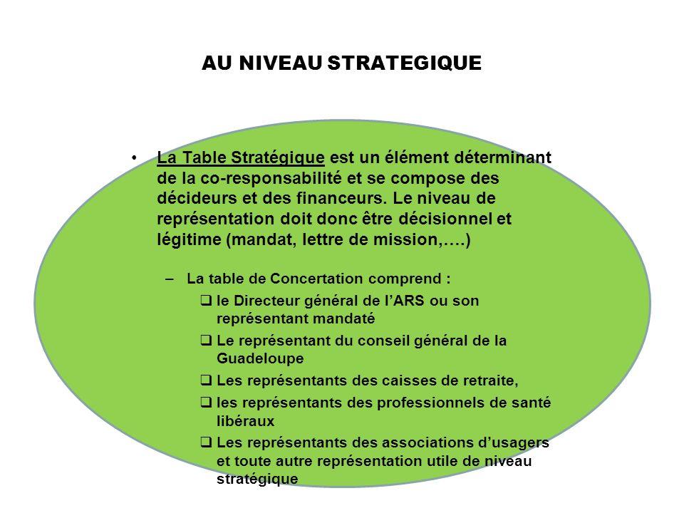 AU NIVEAU STRATEGIQUE La Table Stratégique est un élément déterminant de la co-responsabilité et se compose des décideurs et des financeurs. Le niveau