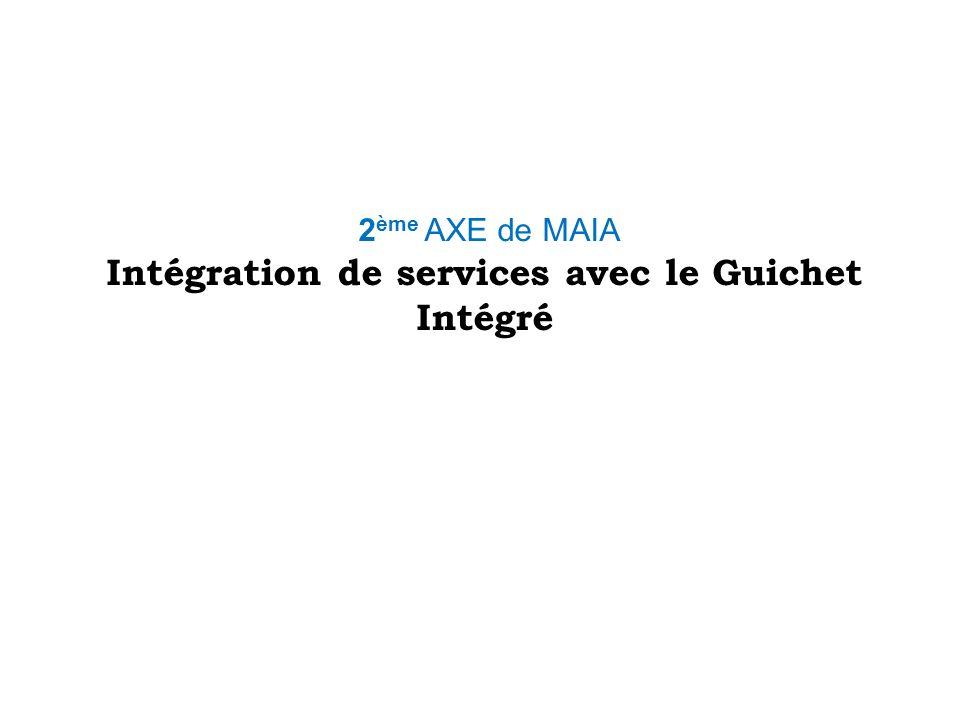 2 ème AXE de MAIA Intégration de services avec le Guichet Intégré