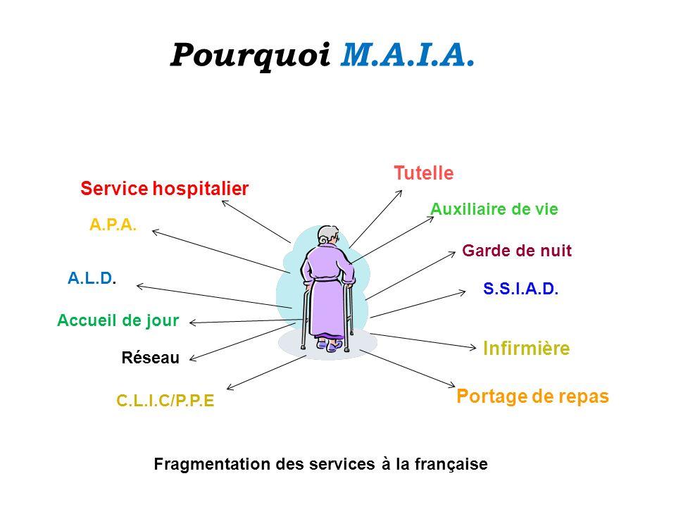 Service hospitalier Portage de repas Infirmière Tutelle A.L.D. Accueil de jour A.P.A. Auxiliaire de vie Garde de nuit S.S.I.A.D. Réseau C.L.I.C/P.P.E