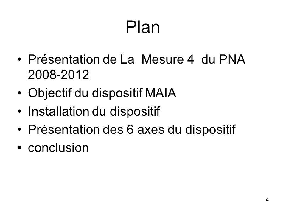 4 Plan Présentation de La Mesure 4 du PNA 2008-2012 Objectif du dispositif MAIA Installation du dispositif Présentation des 6 axes du dispositif concl
