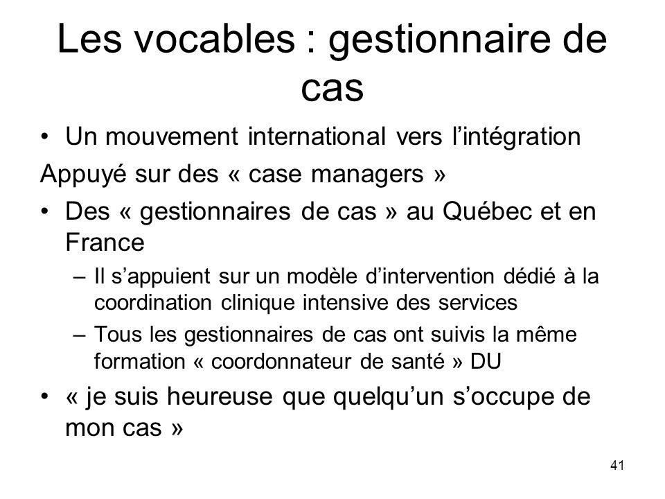 41 Les vocables : gestionnaire de cas Un mouvement international vers lintégration Appuyé sur des « case managers » Des « gestionnaires de cas » au Qu