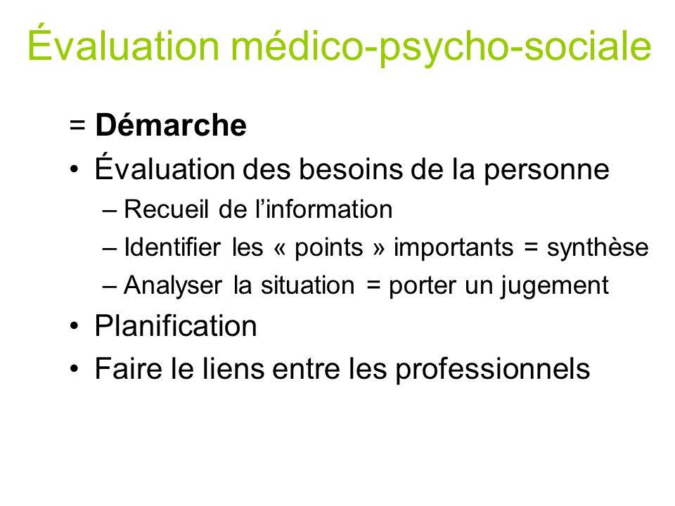 Évaluation médico-psycho-sociale = Démarche Évaluation des besoins de la personne –Recueil de linformation –Identifier les « points » importants = syn
