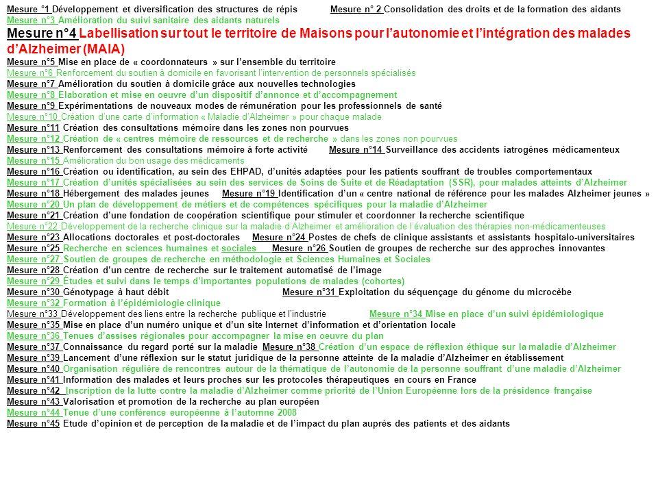 Mesure °1 Développement et diversification des structures de répis Mesure n° 2 Consolidation des droits et de la formation des aidants Mesure n°3 Amél