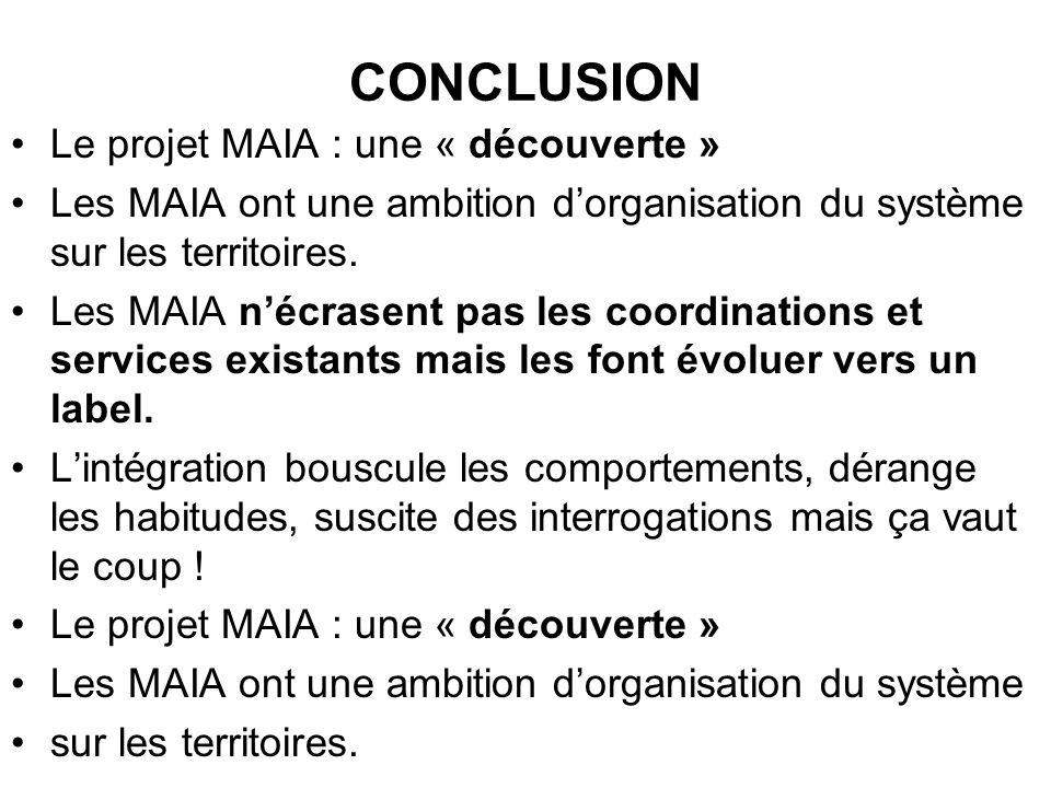 CONCLUSION Le projet MAIA : une « découverte » Les MAIA ont une ambition dorganisation du système sur les territoires. Les MAIA nécrasent pas les coor
