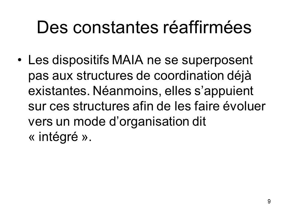 9 Des constantes réaffirmées Les dispositifs MAIA ne se superposent pas aux structures de coordination déjà existantes. Néanmoins, elles sappuient sur