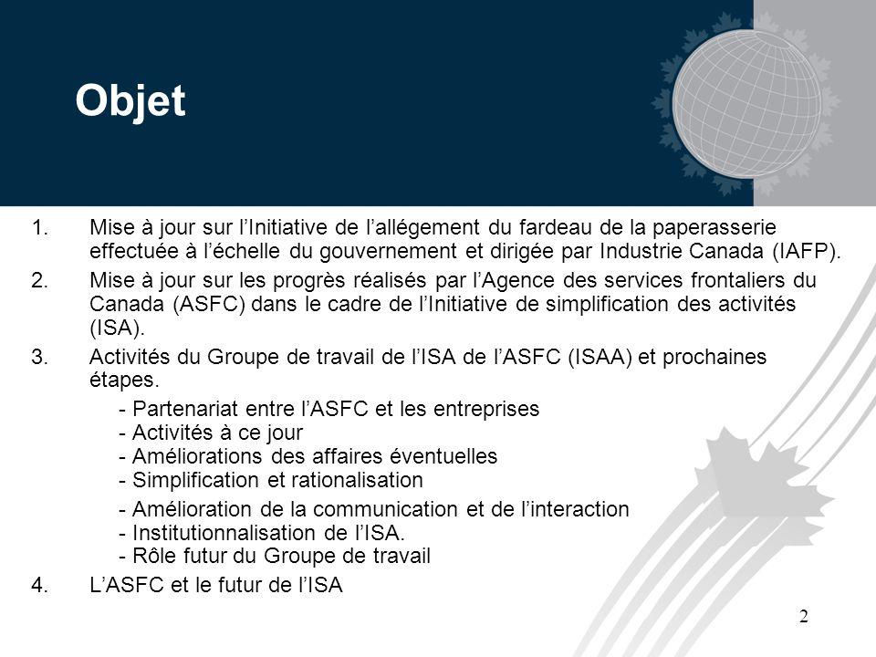 2 Objet 1.Mise à jour sur lInitiative de lallégement du fardeau de la paperasserie effectuée à léchelle du gouvernement et dirigée par Industrie Canada (IAFP).
