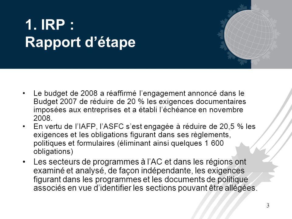 3 1. IRP : Rapport détape Le budget de 2008 a réaffirmé lengagement annoncé dans le Budget 2007 de réduire de 20 % les exigences documentaires imposée
