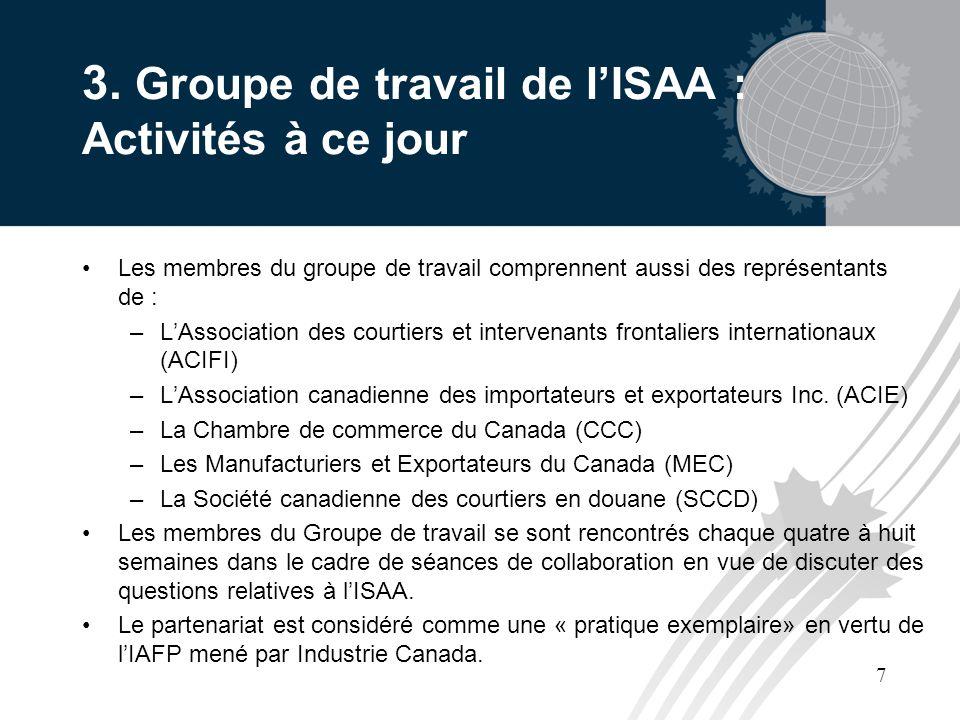 7 3. Groupe de travail de lISAA : Activités à ce jour Les membres du groupe de travail comprennent aussi des représentants de : –LAssociation des cour